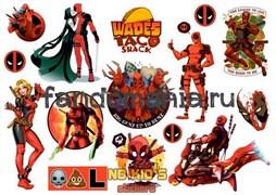 Набор стикеров Deadpool А4