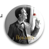 """Значок """"Шерлок Холмс с розой"""""""