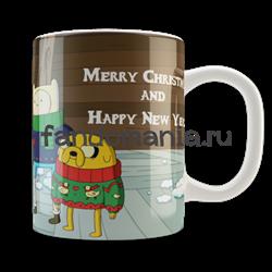 "Кружка ""Adventure Time. Merry Christmas"" (Время приключений) - фото 6135"