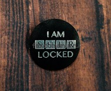"Кожаный значок ""I AM SHER LOCKED"" (Шерлок)"