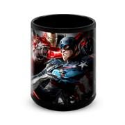 """Большая черная кружка """"Капитан Америка и Железный человек"""" (Капитан Америка)"""