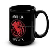 """Большая черная кружка """"Mother of cats"""""""