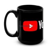 """Большая черная кружка """"YouTube"""""""