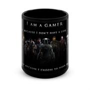 """Большая черная кружка """"I am a gamer"""""""