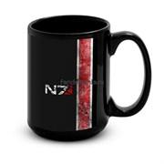 """Большая черная кружка """"N7"""" (Mass Effect)"""