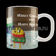 "Кружка ""Adventure Time. Merry Christmas"" (Время приключений)"