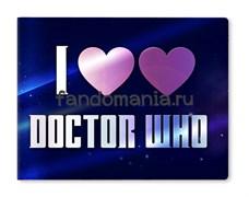"""Обложка на студенческий билет виниловая """"I love Doctor Who""""  (Доктор Кто)"""